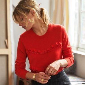 Sezane Andreas Ruffle Wool Cashmere Jumper Sweater